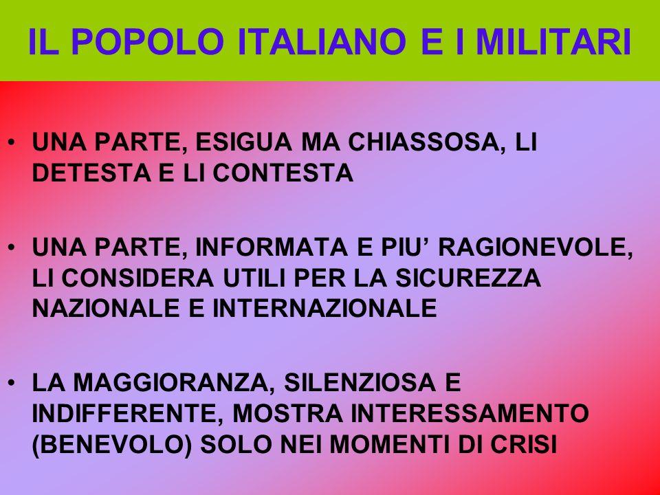 IL POPOLO ITALIANO E I MILITARI UNA PARTE, ESIGUA MA CHIASSOSA, LI DETESTA E LI CONTESTA UNA PARTE, INFORMATA E PIU RAGIONEVOLE, LI CONSIDERA UTILI PE