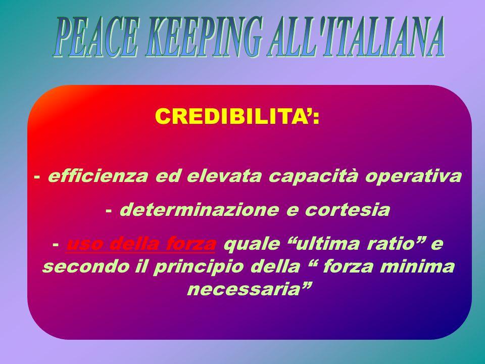 CREDIBILITA: - efficienza ed elevata capacità operativa - determinazione e cortesia - uso della forza quale ultima ratio e secondo il principio della
