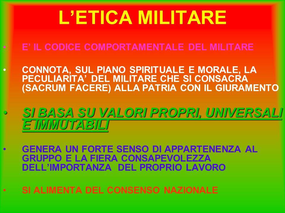 LETICA MILITARE E IL CODICE COMPORTAMENTALE DEL MILITARE CONNOTA, SUL PIANO SPIRITUALE E MORALE, LA PECULIARITA DEL MILITARE CHE SI CONSACRA (SACRUM F