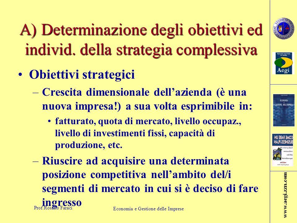 www.aegi.zzn.com Prof.Rosario Faraci Economia e Gestione delle Imprese A) Determinazione degli obiettivi ed individ.