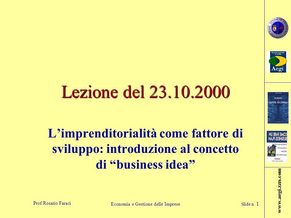 www.aegi.zzn.com Prof.Rosario Faraci Economia e Gestione delle Imprese Slide n. 1 Lezione del 23.10.2000 Limprenditorialità come fattore di sviluppo: