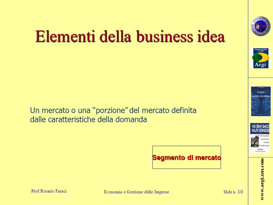 www.aegi.zzn.com Prof.Rosario Faraci Economia e Gestione delle Imprese Slide n. 10 Elementi della business idea Segmento di mercato Un mercato o una p