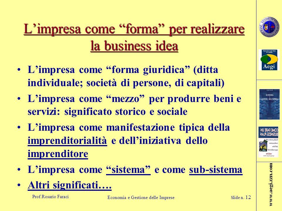 www.aegi.zzn.com Prof.Rosario Faraci Economia e Gestione delle Imprese Slide n. 12 Limpresa come forma per realizzare la business idea Limpresa come f