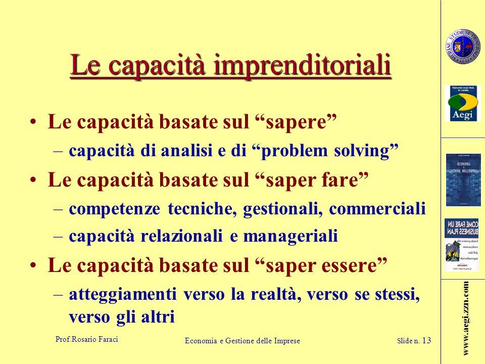 www.aegi.zzn.com Prof.Rosario Faraci Economia e Gestione delle Imprese Slide n. 13 Le capacità imprenditoriali Le capacità basate sul sapere –capacità