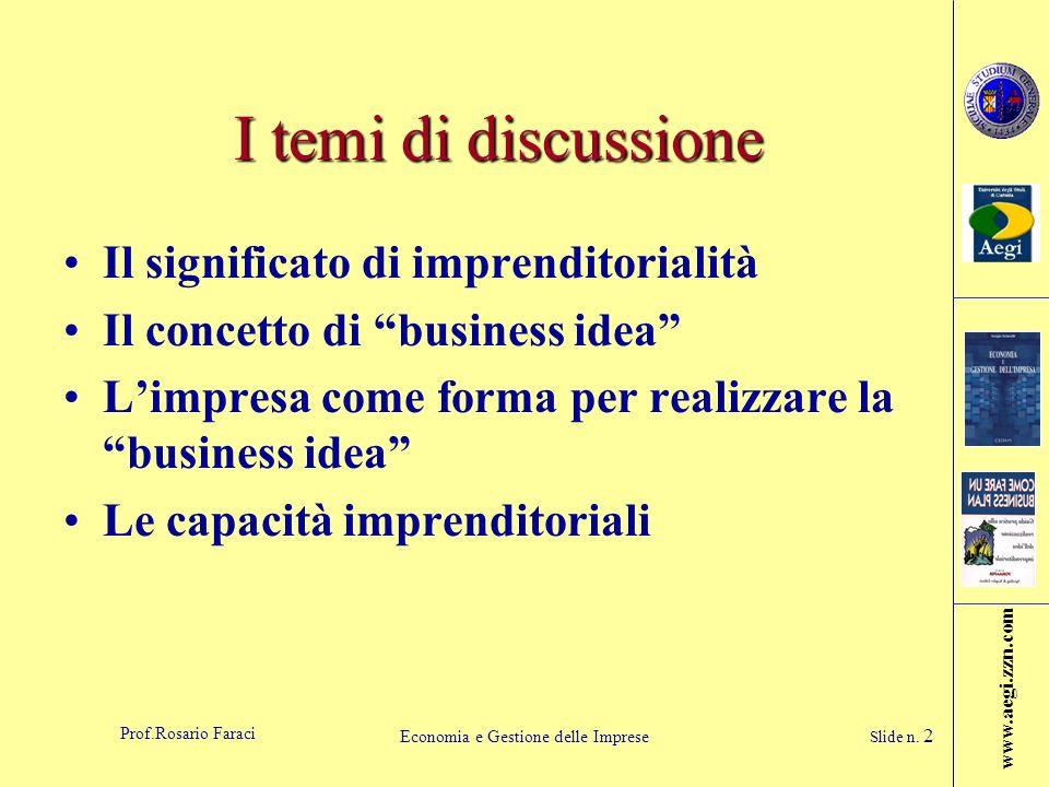 www.aegi.zzn.com Prof.Rosario Faraci Economia e Gestione delle Imprese Slide n. 2 I temi di discussione Il significato di imprenditorialità Il concett