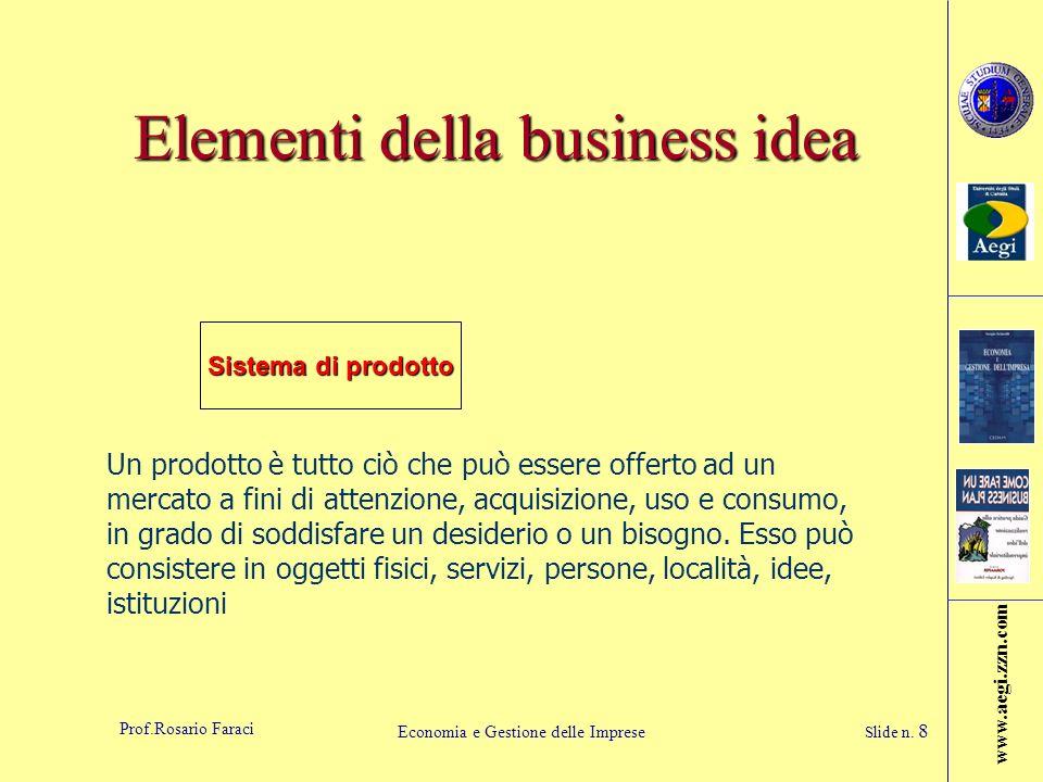 www.aegi.zzn.com Prof.Rosario Faraci Economia e Gestione delle Imprese Slide n. 8 Elementi della business idea Sistema di prodotto Un prodotto è tutto