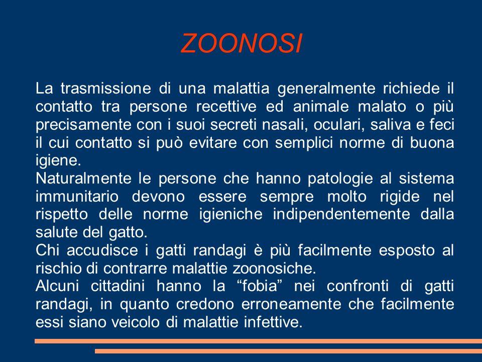 ZOONOSI La trasmissione di una malattia generalmente richiede il contatto tra persone recettive ed animale malato o più precisamente con i suoi secret