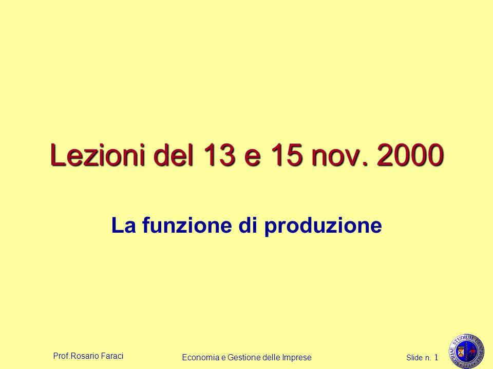Prof.Rosario Faraci Economia e Gestione delle Imprese Slide n. 1 Lezioni del 13 e 15 nov. 2000 La funzione di produzione