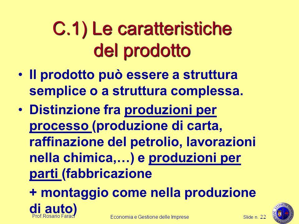 Prof.Rosario Faraci Economia e Gestione delle Imprese Slide n. 22 C.1) Le caratteristiche del prodotto Il prodotto può essere a struttura semplice o a