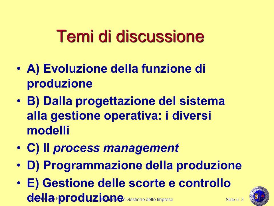 Prof.Rosario Faraci Economia e Gestione delle Imprese Slide n. 3 Temi di discussione A) Evoluzione della funzione di produzione B) Dalla progettazione