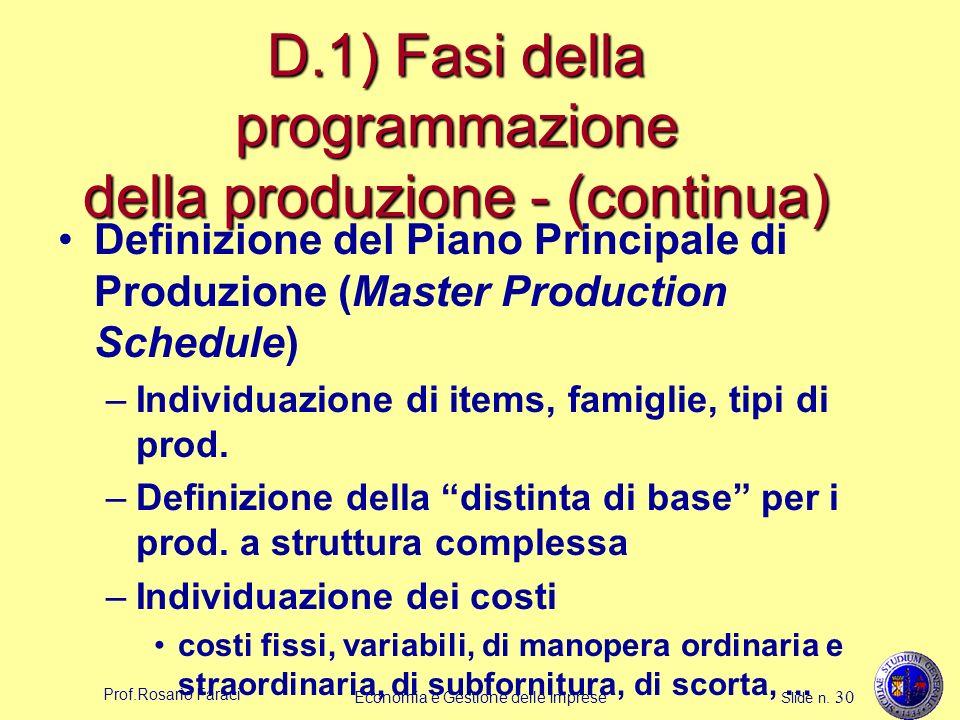 Prof.Rosario Faraci Economia e Gestione delle Imprese Slide n. 30 D.1) Fasi della programmazione della produzione - (continua) Definizione del Piano P