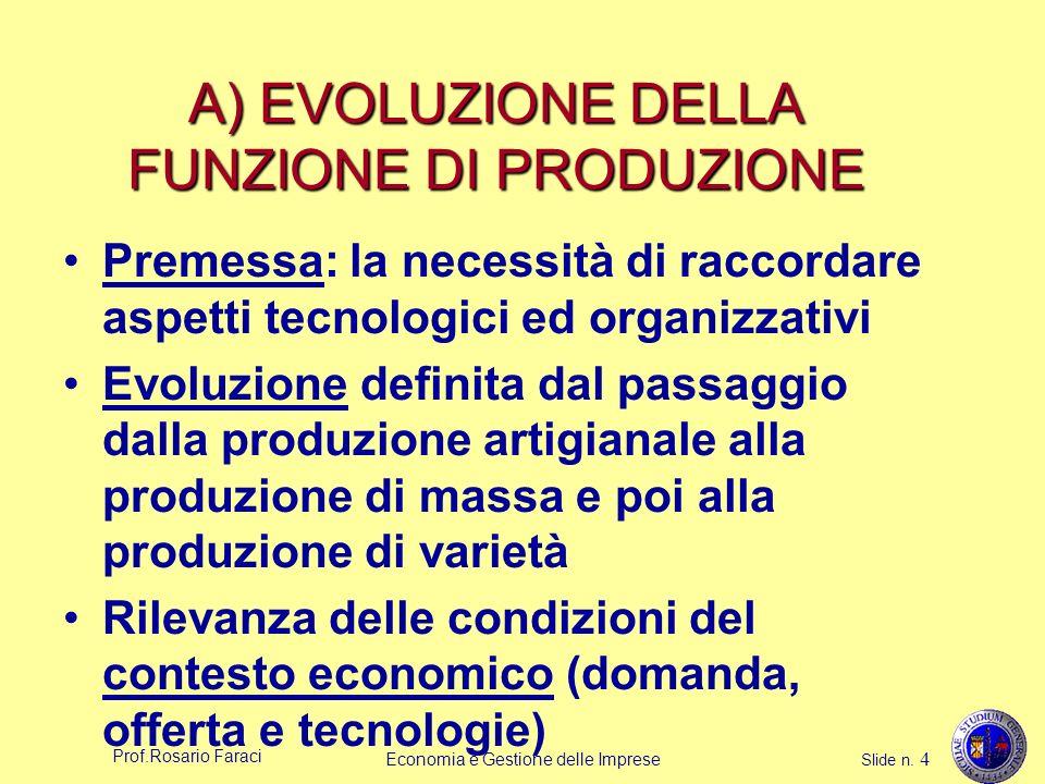 Prof.Rosario Faraci Economia e Gestione delle Imprese Slide n. 4 A) EVOLUZIONE DELLA FUNZIONE DI PRODUZIONE Premessa: la necessità di raccordare aspet