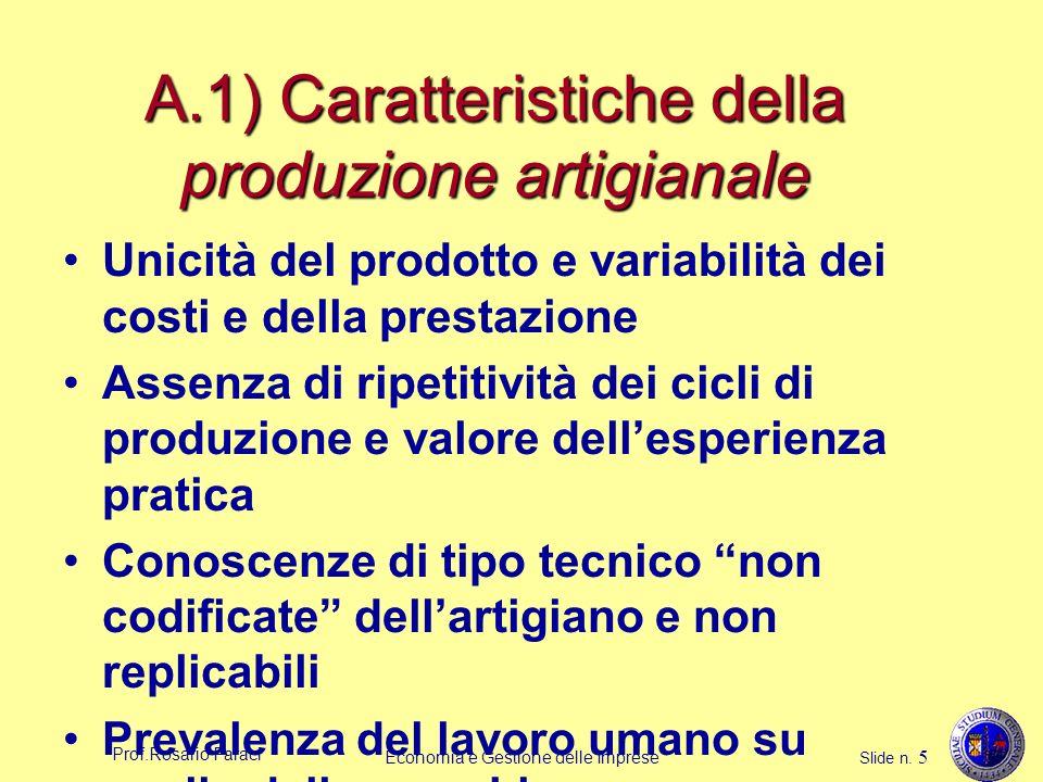 Prof.Rosario Faraci Economia e Gestione delle Imprese Slide n. 5 A.1) Caratteristiche della produzione artigianale Unicità del prodotto e variabilità
