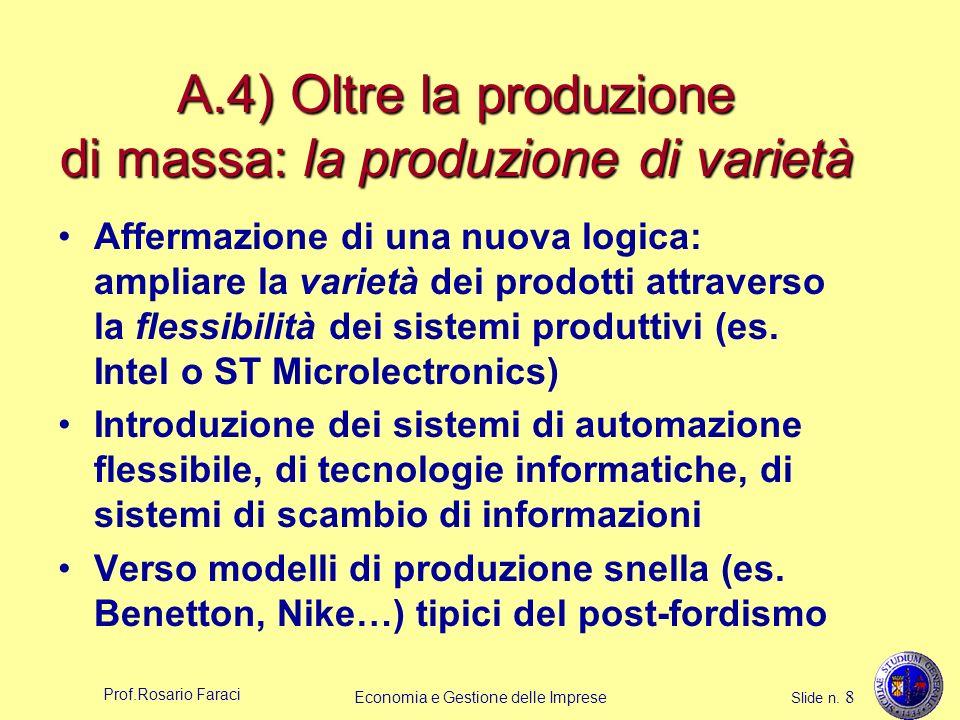 Prof.Rosario Faraci Economia e Gestione delle Imprese Slide n. 8 A.4) Oltre la produzione di massa: la produzione di varietà Affermazione di una nuova