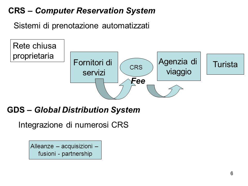 6 CRS – Computer Reservation System Sistemi di prenotazione automatizzati Rete chiusa proprietaria Fornitori di servizi CRS Agenzia di viaggio Turista