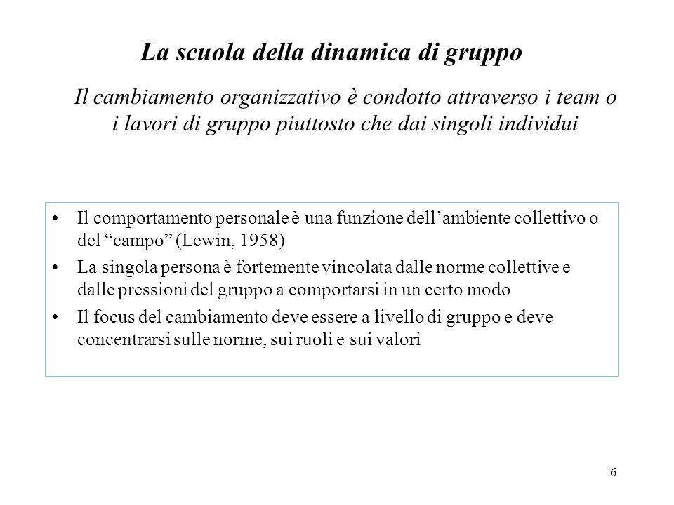 6 La scuola della dinamica di gruppo Il comportamento personale è una funzione dellambiente collettivo o del campo (Lewin, 1958) La singola persona è