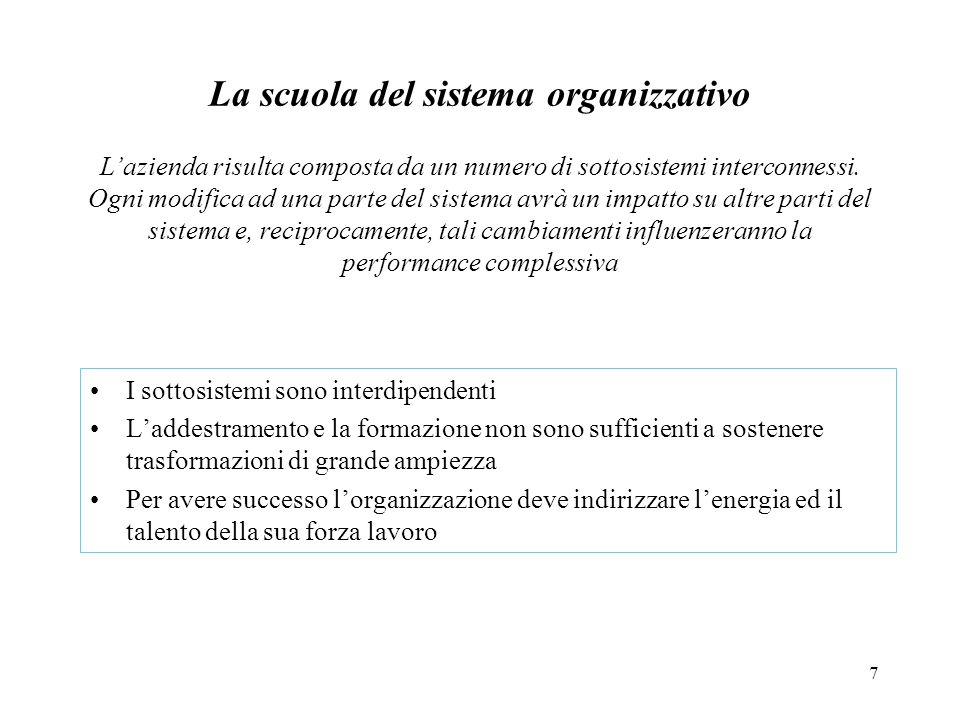 7 La scuola del sistema organizzativo I sottosistemi sono interdipendenti Laddestramento e la formazione non sono sufficienti a sostenere trasformazio