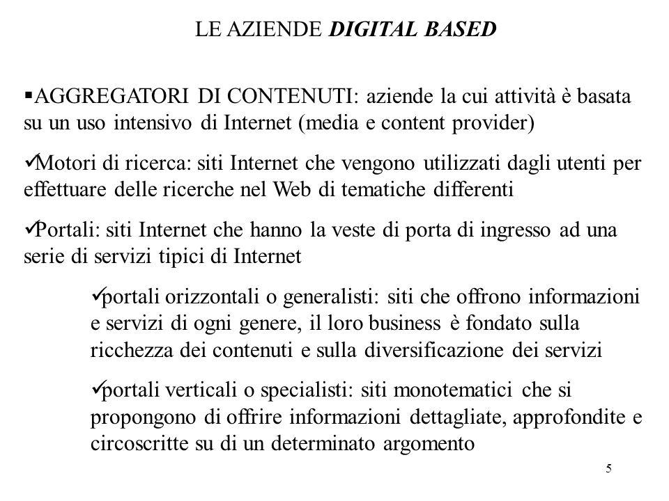 5 AGGREGATORI DI CONTENUTI: aziende la cui attività è basata su un uso intensivo di Internet (media e content provider) Motori di ricerca: siti Intern