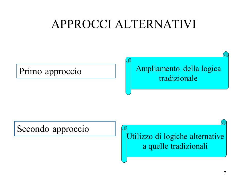 7 APPROCCI ALTERNATIVI Primo approccio Secondo approccio Ampliamento della logica tradizionale Utilizzo di logiche alternative a quelle tradizionali