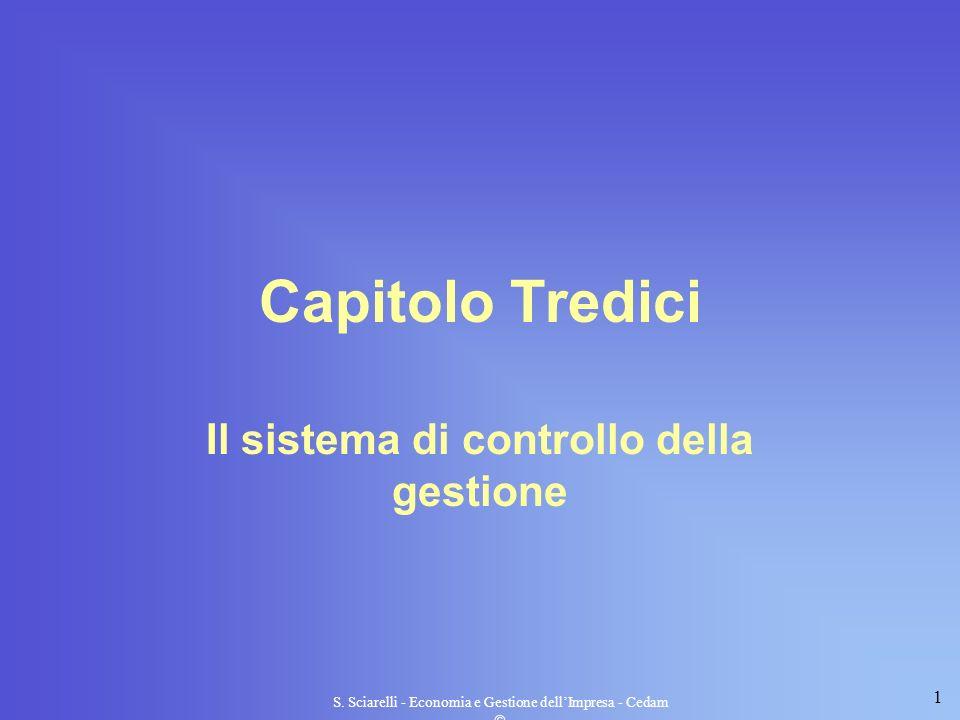 1 S. Sciarelli - Economia e Gestione dellImpresa - Cedam Capitolo Tredici Il sistema di controllo della gestione
