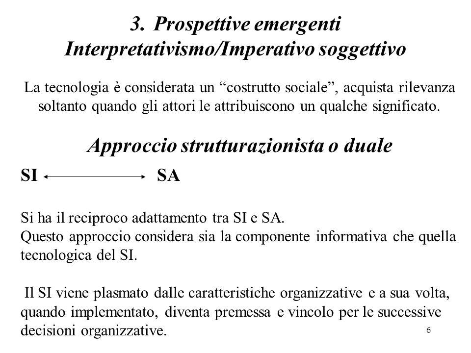7 Prospettive emergenti Interpretativismo/Imperativo soggettivo La tecnologia è considerata un costrutto sociale, acquista rilevanza soltanto quando gli attori le attribuiscono un qualche significato.