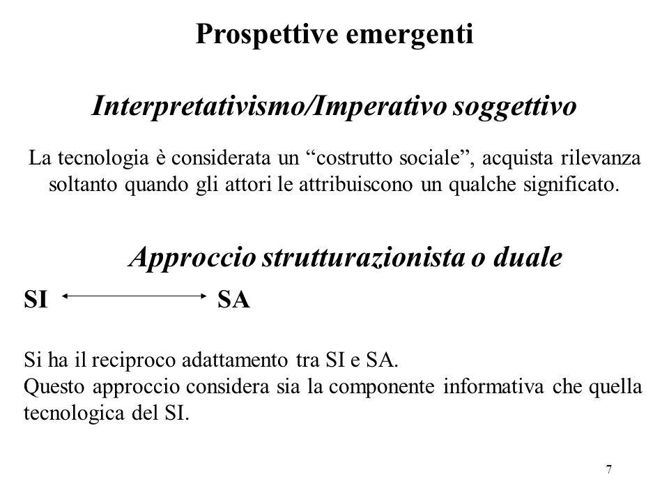 7 Prospettive emergenti Interpretativismo/Imperativo soggettivo La tecnologia è considerata un costrutto sociale, acquista rilevanza soltanto quando g