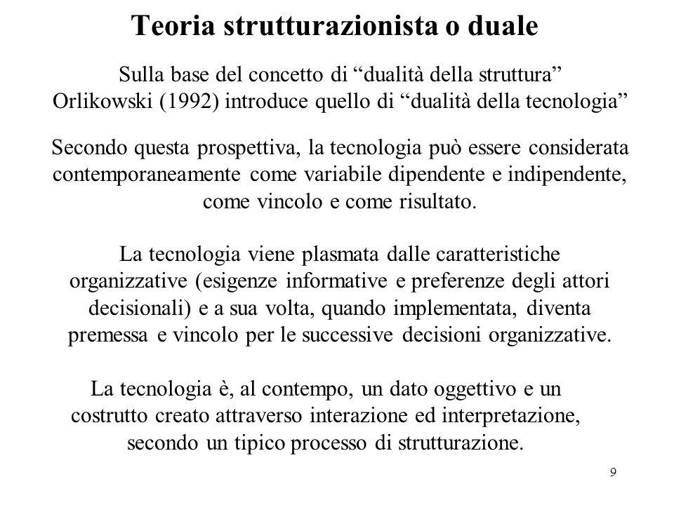 9 Teoria strutturazionista o duale Secondo questa prospettiva, la tecnologia può essere considerata contemporaneamente come variabile dipendente e ind