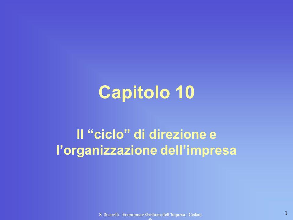 1 S. Sciarelli - Economia e Gestione dellImpresa - Cedam Capitolo 10 Il ciclo di direzione e lorganizzazione dellimpresa