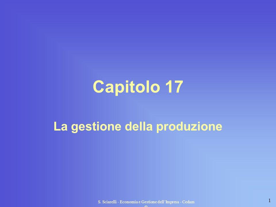 1 S. Sciarelli - Economia e Gestione dellImpresa - Cedam Capitolo 17 La gestione della produzione