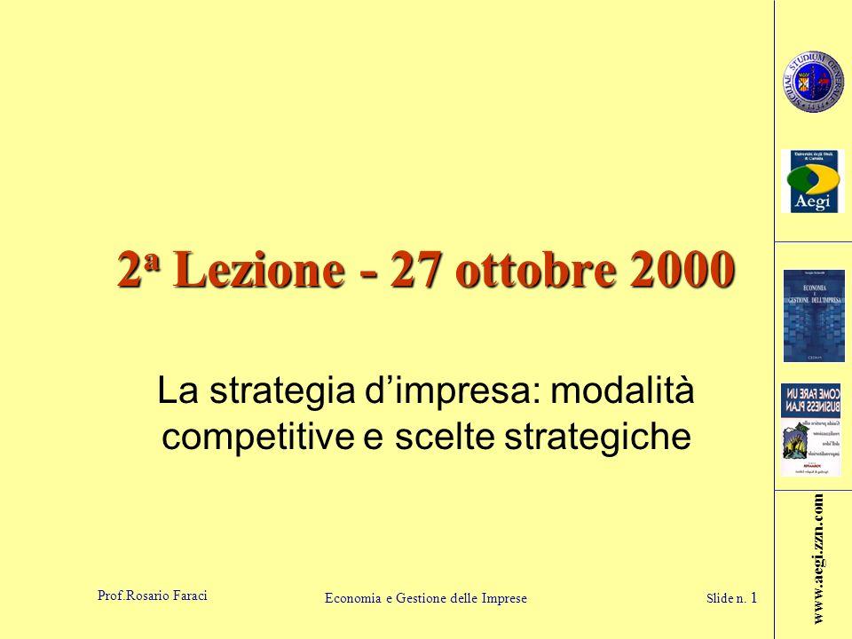 www.aegi.zzn.com Prof.Rosario Faraci Economia e Gestione delle Imprese Slide n. 1 2 a Lezione - 27 ottobre 2000 La strategia dimpresa: modalità compet