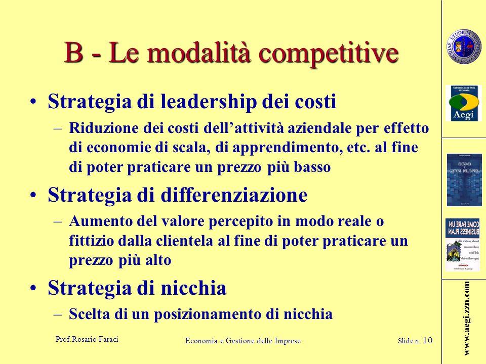 www.aegi.zzn.com Prof.Rosario Faraci Economia e Gestione delle Imprese Slide n. 10 B - Le modalità competitive Strategia di leadership dei costi –Ridu