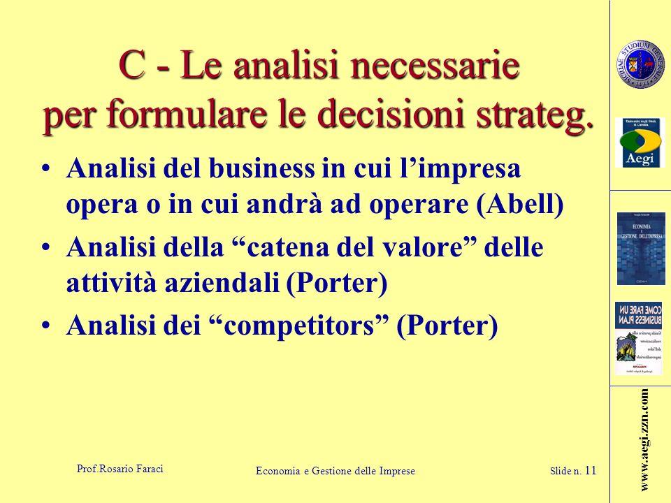 www.aegi.zzn.com Prof.Rosario Faraci Economia e Gestione delle Imprese Slide n. 11 C - Le analisi necessarie per formulare le decisioni strateg. Anali