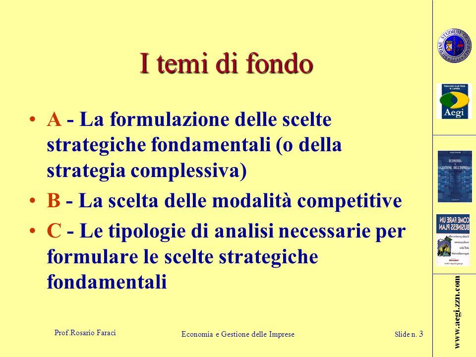 www.aegi.zzn.com Prof.Rosario Faraci Economia e Gestione delle Imprese Slide n. 3 I temi di fondo A - La formulazione delle scelte strategiche fondame