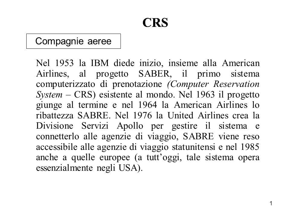 1 CRS Compagnie aeree Nel 1953 la IBM diede inizio, insieme alla American Airlines, al progetto SABER, il primo sistema computerizzato di prenotazione