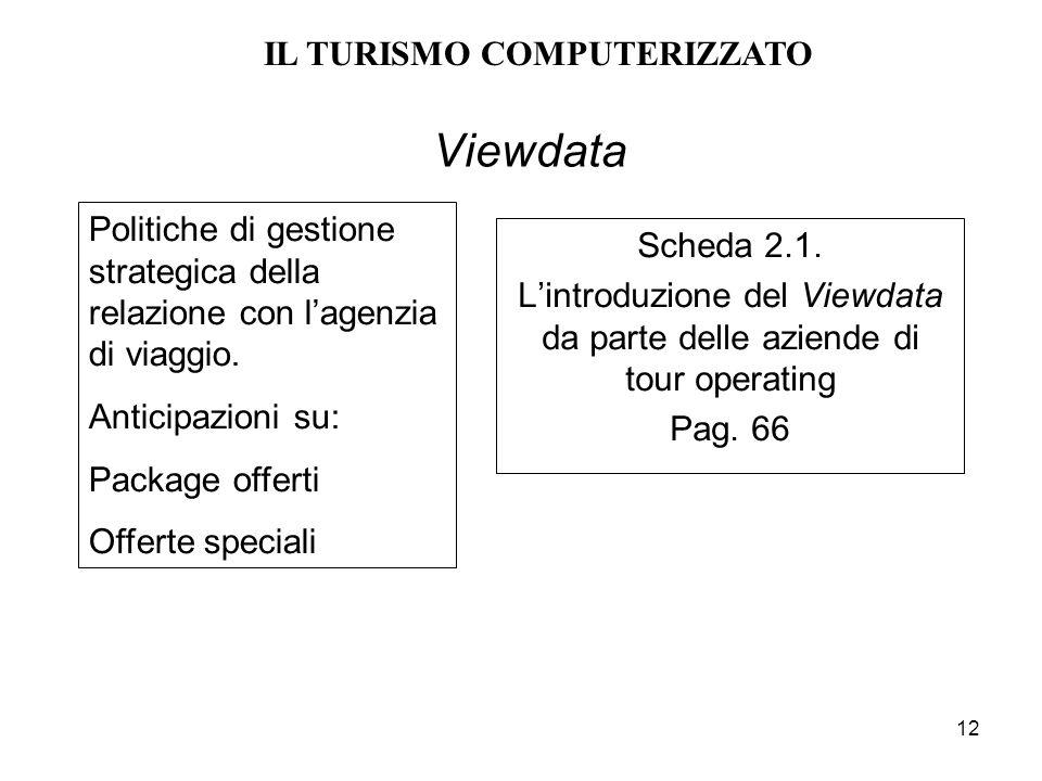 12 Viewdata Scheda 2.1. Lintroduzione del Viewdata da parte delle aziende di tour operating Pag. 66 Politiche di gestione strategica della relazione c