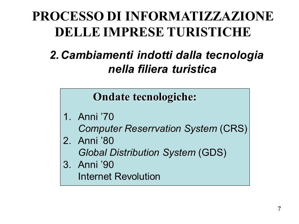 7 PROCESSO DI INFORMATIZZAZIONE DELLE IMPRESE TURISTICHE Ondate tecnologiche: 1.Anni 70 Computer Reserrvation System (CRS) 2.Anni 80 Global Distributi