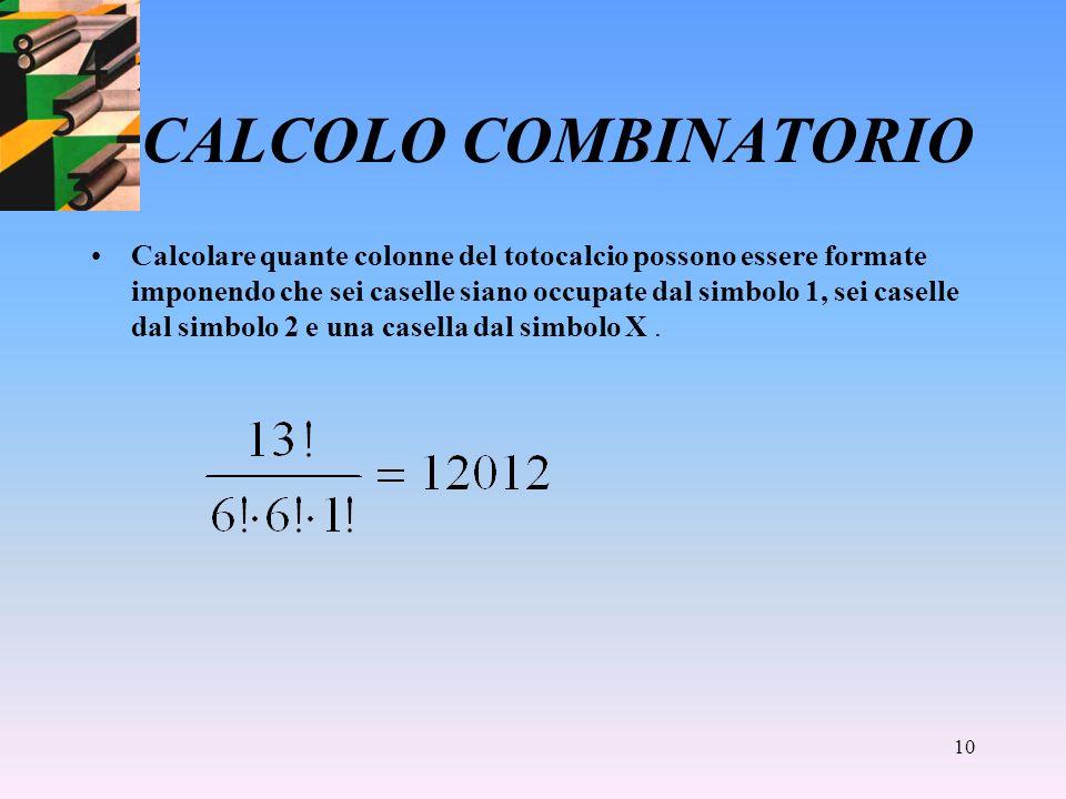 9 CALCOLO COMBINATORIO Le permutazioni con ripetizione