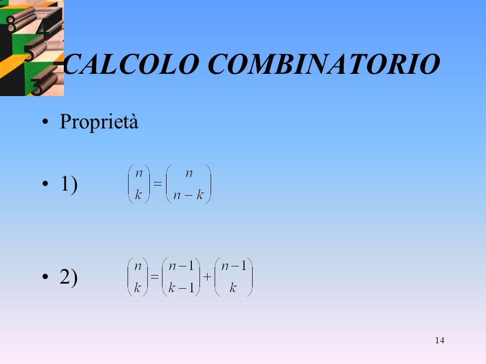 14 CALCOLO COMBINATORIO Proprietà 1) 2)