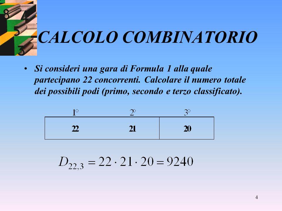 4 CALCOLO COMBINATORIO Si consideri una gara di Formula 1 alla quale partecipano 22 concorrenti.