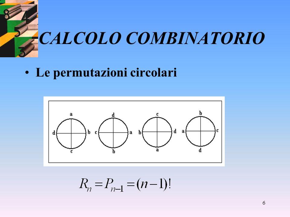 5 CALCOLO COMBINATORIO Le permutazioni semplici (k=n) Si noti che: