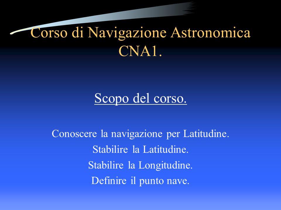 Corso di Navigazione Astronomica CNA1. Scopo del corso. Conoscere la navigazione per Latitudine. Stabilire la Latitudine. Stabilire la Longitudine. De