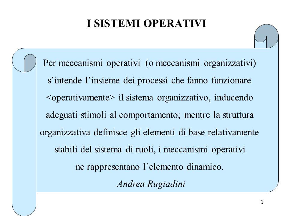 1 I SISTEMI OPERATIVI Per meccanismi operativi (o meccanismi organizzativi) sintende linsieme dei processi che fanno funzionare il sistema organizzativo, inducendo adeguati stimoli al comportamento; mentre la struttura organizzativa definisce gli elementi di base relativamente stabili del sistema di ruoli, i meccanismi operativi ne rappresentano lelemento dinamico.