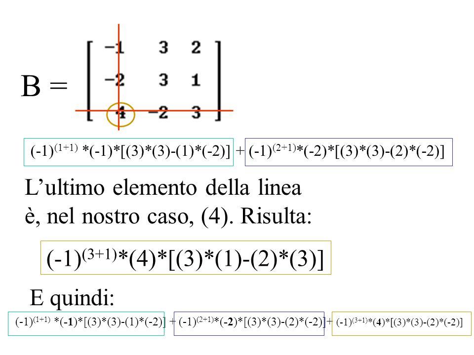 B = (-1) (1+1) *(-1)*[(3)*(3)-(1)*(-2)] + (-1) (2+1) *(-2)*[(3)*(3)-(2)*(-2)] Lultimo elemento della linea è, nel nostro caso, (4). Risulta: (-1) (3+1
