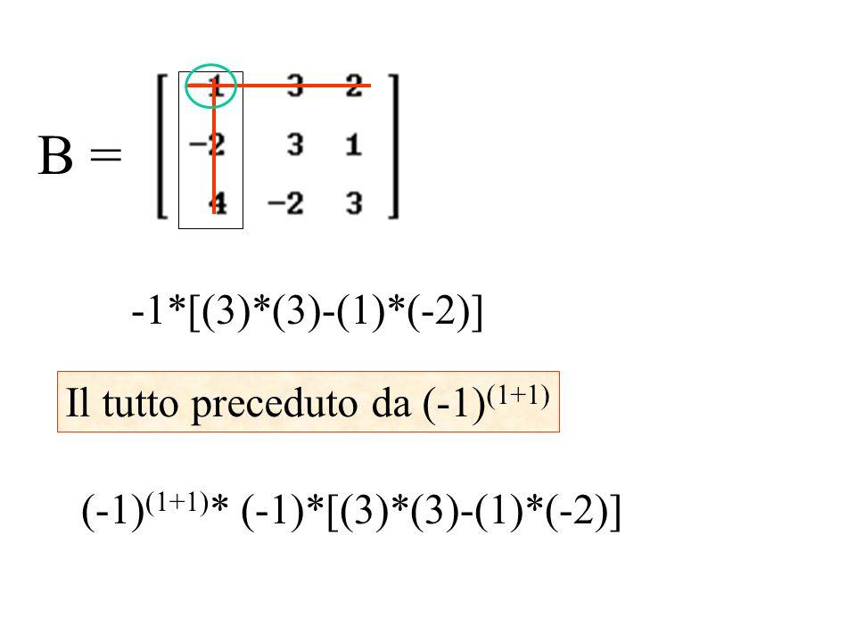B = -1*[(3)*(3)-(1)*(-2)] Il tutto preceduto da (-1) (1+1) (-1) (1+1) * (-1)*[(3)*(3)-(1)*(-2)]