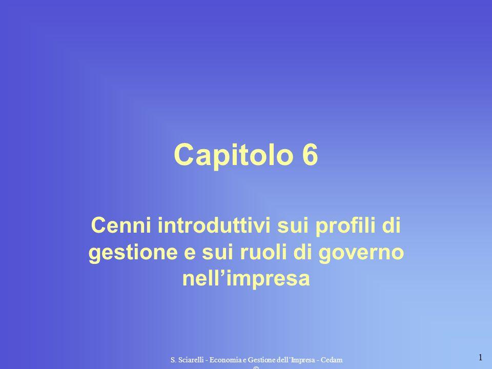 1 S. Sciarelli - Economia e Gestione dellImpresa - Cedam Capitolo 6 Cenni introduttivi sui profili di gestione e sui ruoli di governo nellimpresa