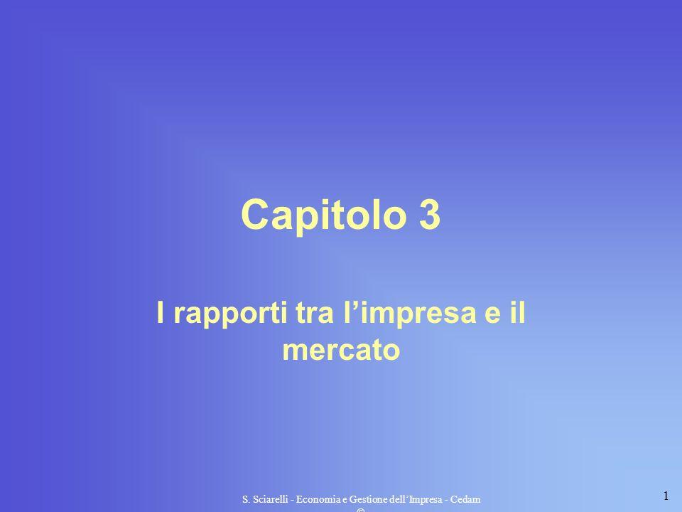 1 S. Sciarelli - Economia e Gestione dellImpresa - Cedam Capitolo 3 I rapporti tra limpresa e il mercato