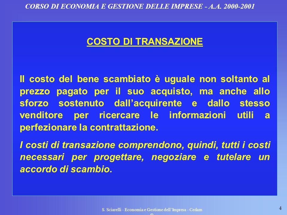 4 S. Sciarelli - Economia e Gestione dellImpresa - Cedam CORSO DI ECONOMIA E GESTIONE DELLE IMPRESE - A.A. 2000-2001 COSTO DI TRANSAZIONE Il costo del