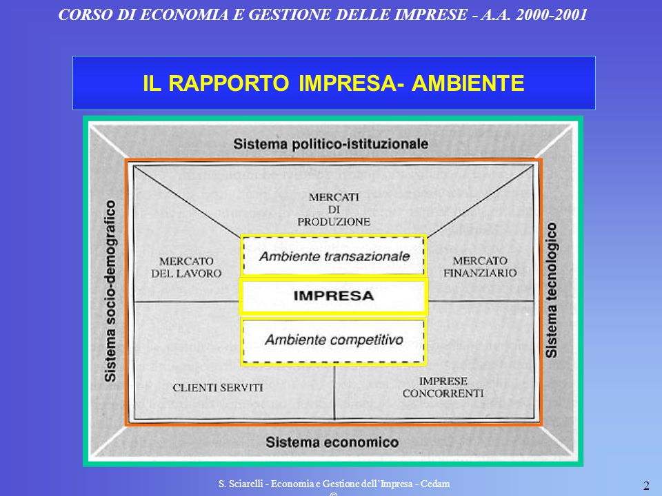 S. Sciarelli - Economia e Gestione dellImpresa - Cedam 2 CORSO DI ECONOMIA E GESTIONE DELLE IMPRESE - A.A. 2000-2001 IL RAPPORTO IMPRESA- AMBIENTE