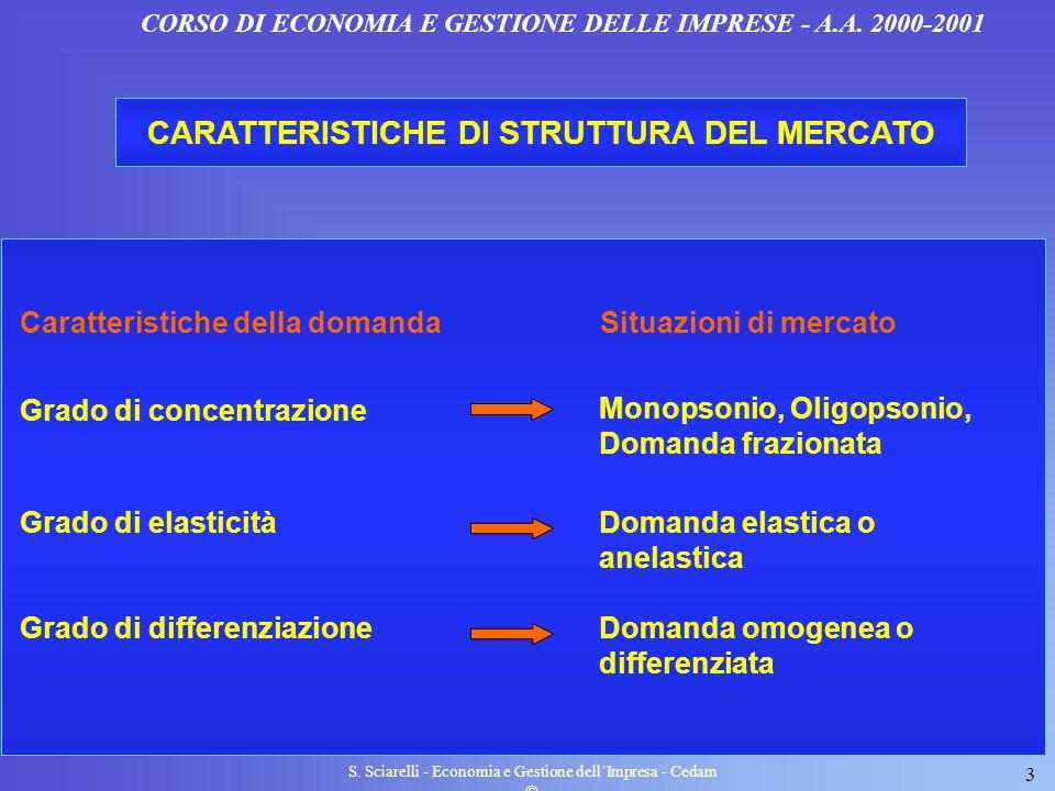 S. Sciarelli - Economia e Gestione dellImpresa - Cedam 3 CORSO DI ECONOMIA E GESTIONE DELLE IMPRESE - A.A. 2000-2001 CARATTERISTICHE DI STRUTTURA DEL