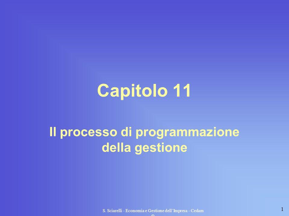 1 S. Sciarelli - Economia e Gestione dellImpresa - Cedam Capitolo 11 Il processo di programmazione della gestione